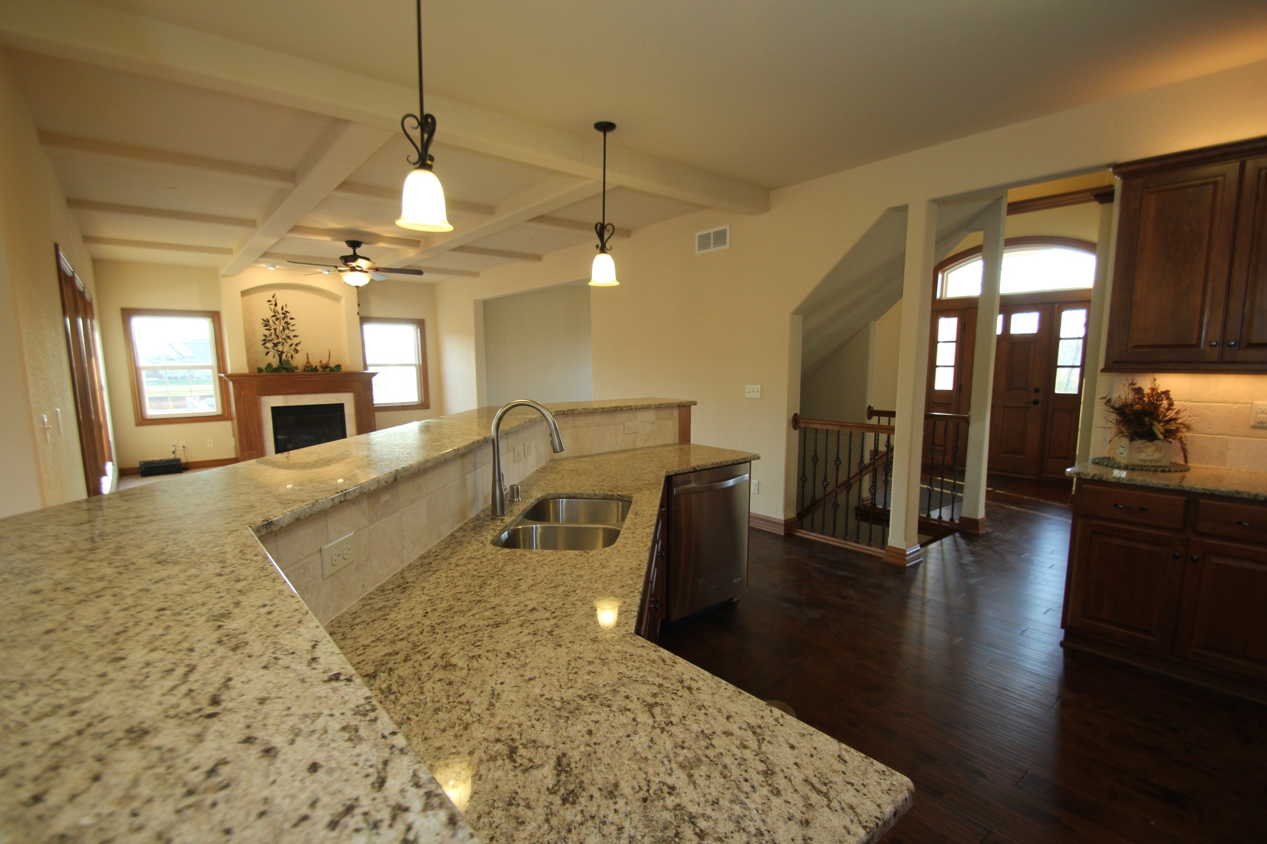 View of Entryway from Kitchen Island