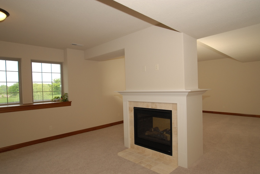 Finished Lower Level with Dual Sided Fireplace
