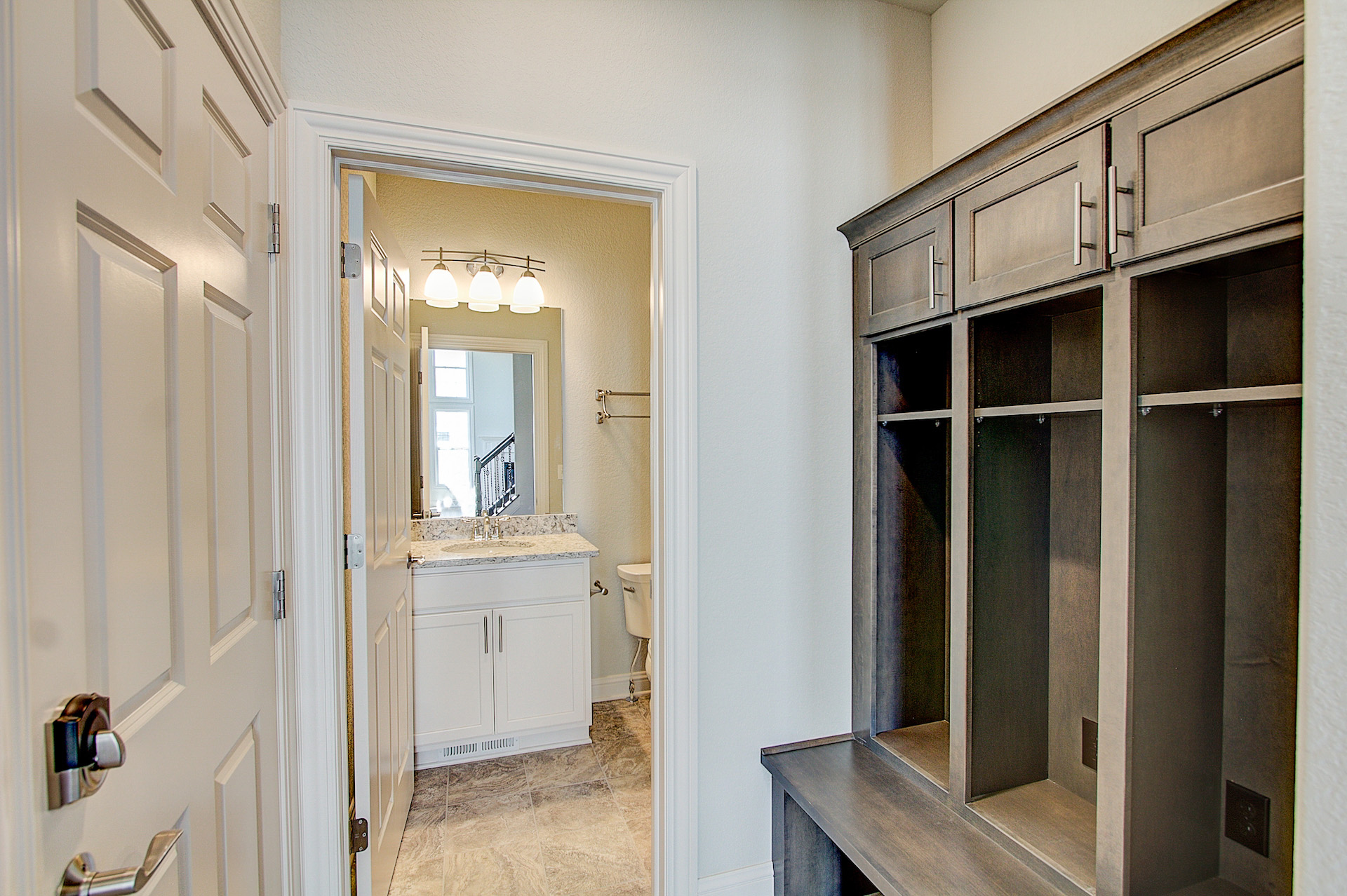 View from Mudroom Boot Bench into Bathroom