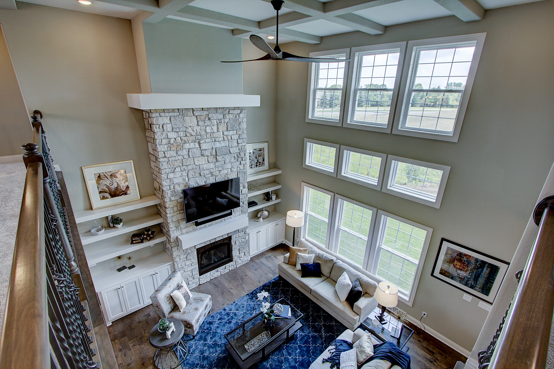 View of 2-story Great Room from Cat Walk